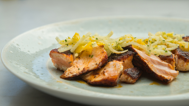 Blackened Salmon with Jicama and Mango Slaw