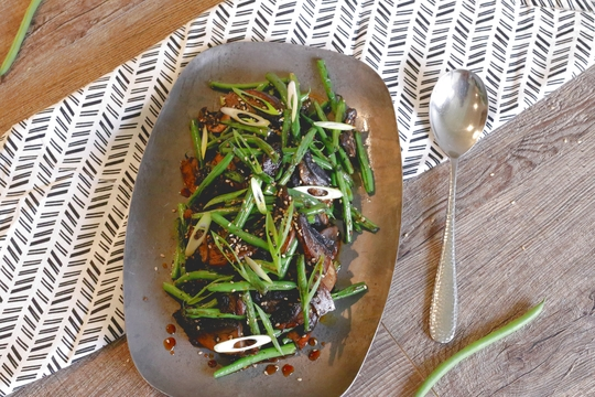 Honey Sesame Portobellos and Green Beans