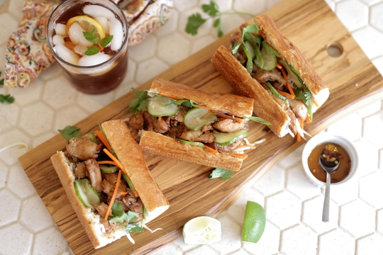 Easy Lemongrass Chicken Banh Mi Sandwiches