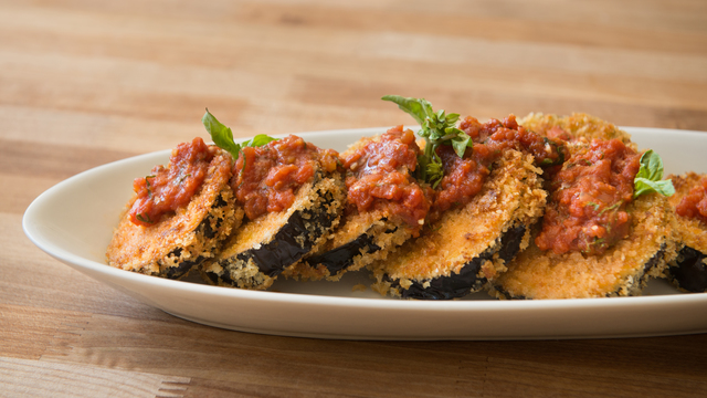 Crispy Eggplant with Tomato Basil Sauce