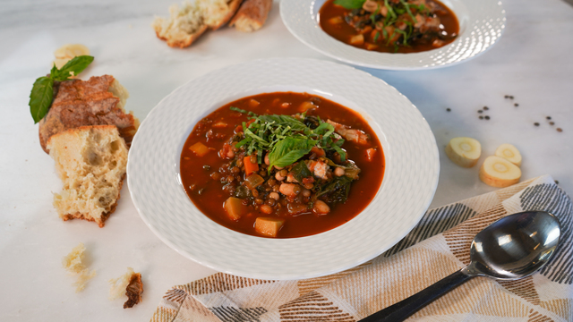 Turkey Minestrone with Lentils, Chard and Cannellini Beans