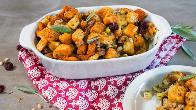 Gluten Free Stuffing with Italian Sausage and Dried Cherries