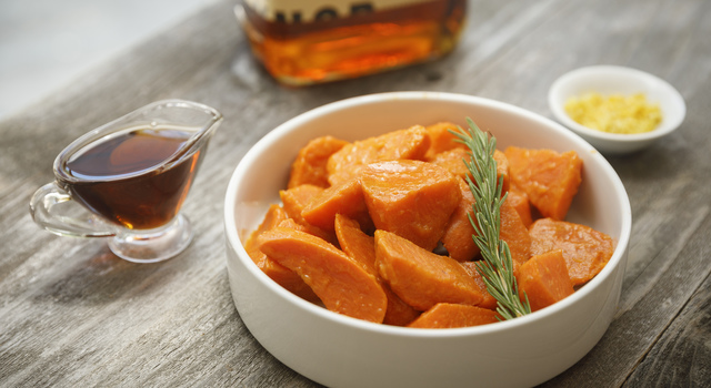 Maple and Bourbon Glazed Sweet Potatoes