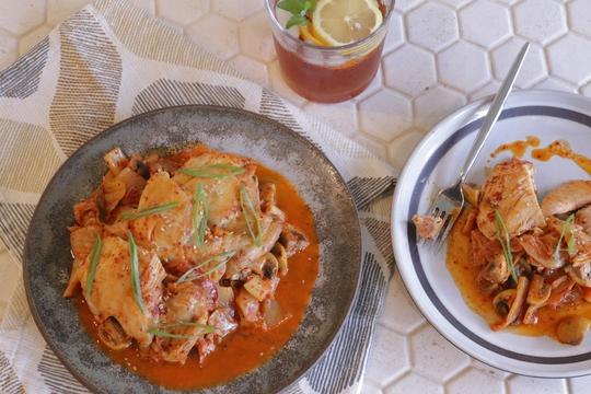 Kimchi Braised Chicken Thighs