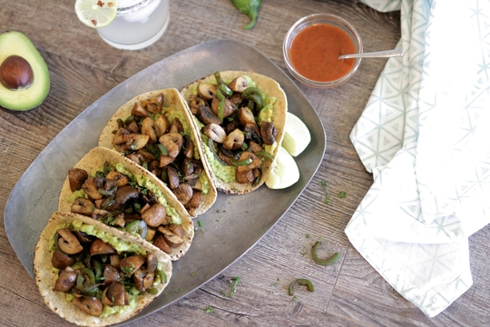 Spicy Mushroom Tacos with Chunky Avocado Mash